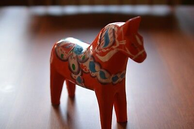 akta small swedish wood decorative hand carved painted dala horse made in sweden