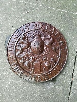 Antique/vintage Cast Iron Milners Safe Plaque