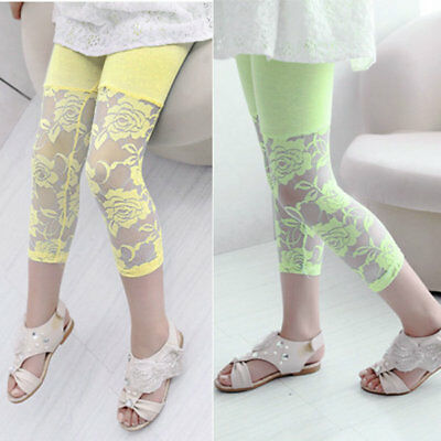 Baby Kids Girls Summer Ballet Lace Floral Skinny Leggings Capris Pants Trousers