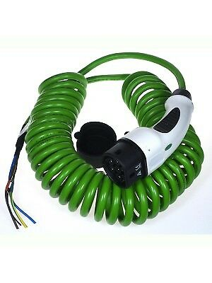 Type 2 MENNEKES EV Tethered Charging Plug and Lead 32Amps - COILED GREEN cable
