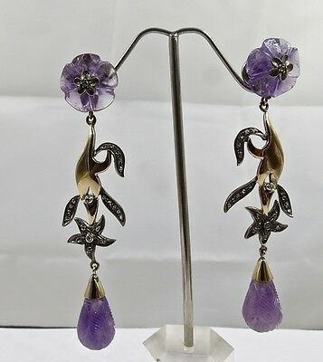 Amethyst Carved Diamond 18K Gold & 925 Silver Victorian Earring