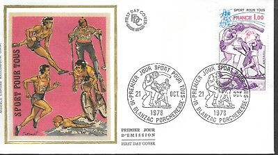 FR271   France 1978 SPORT POUR TOURS  SILK FDC $4.00