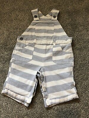 Boys Sumner Grey & White Striped Dungarees Age 18/24 Months