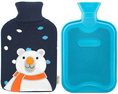 Premium Classic Rubber Hot Water Bottle and Cute Animal Embroidery Knit Cover 2L