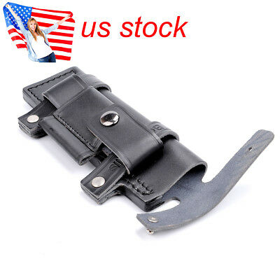 """US Straight Leather Knife Sheath Pouch Belt W/ Pouch For Less 7"""" Fixed Knife"""