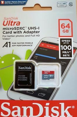 New SanDisk Class 10 Ultra 64GB 100MB/s Micro SD SDHC Memory Card UHS-I and adap