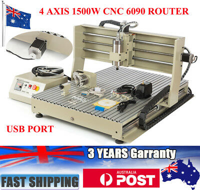 4Axis CNC Router Engraver USB 1500W Engraving Machine Desktop DIY Cutter 6090 AU