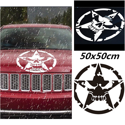 50cmx50cm White Car SUV Decal Distressed Army Star Hood Decal Skeleton Stickers