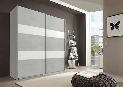 German Chess Concrete Grey & White 2 Door 135cm Sliding Slider Door Wardrobe