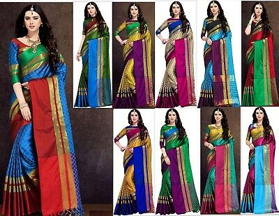 Bollywood Designer Saree TRADITIONAL cotton silk Sari Kanchipuram Indian SS