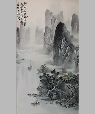 Vintage 20th Century Chinese Scroll Painting on Paper - B
