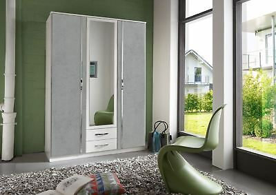 German Duo Concrete Grey & White 3 Door 135cm Wardrobe with Mirror & Drawers
