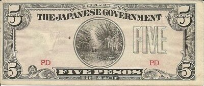 PHILLIPPINES:, 5 Pesos, 1942. .P-107 Japanese Occupation Note, WWII