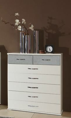 German Duo Concrete Grey & White 7 (5 + 2) Drawers Chest Industrial Style