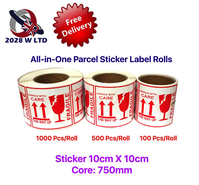 All-in-One Parcel Sticker Label Rolls (Fragile, Handle with Care)