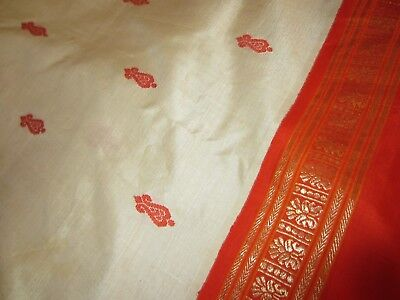 "India Silk Sarre~Bright Orange/Cream/Gold~Fleur de Lis~Wide Border~106.5"" x 46"""