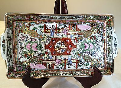 CHINESE  Medallion 10 by 5.5 Rectangular Tea Tray VG mid 20th Century VG cond