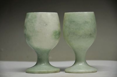 A Pair Collectible Chinese Natural Jade Hand Carved Pair Wine Glass