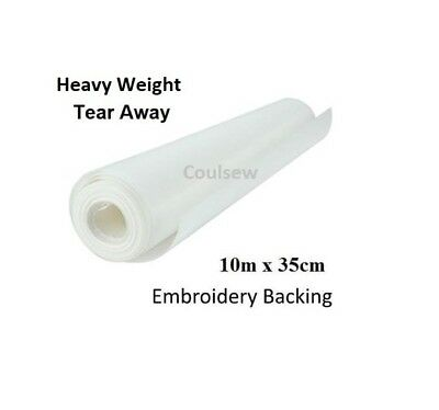 HEAVY STRONG TEAR AWAY EMBROIDERY BACKING STABILISER 10m x 35cm