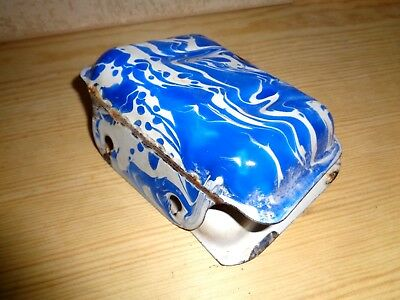 Old Antique 2pc Enamelware Soap Dish Rest Vintage Blue White Swirl Graniteware