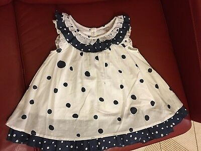 Blue and White Polka Dot Baby Girl's dress. Size 12-18Months. 100% Cotton.