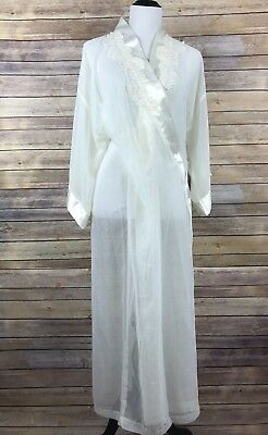 Vintage California Dynasty Womens Peignoir Semi Sheer Lace Pearls Ivory Long M