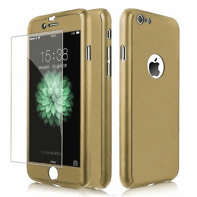 Coque Etui  Housse + Verre Trempe 360° Pour Iphone 5 Or Full protection