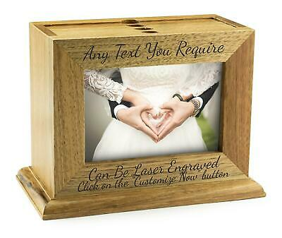 "Personalised Wooden Frame Photo Box Album Holds 72 6""x4"" Photos Laser Engraved."