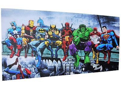 SUPERHEROES CANVAS PICTURE GIRDER LUNCH 600x300mm 60x30cm Ready to hang