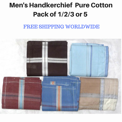 Men's Handkerchief Hanky Pure Cotton Assorted Colours Pack of 1/2/3 or 5 Square