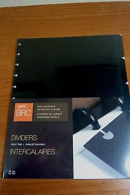 Arc By Staples Poly Tab Dividers - Black - 5 Pack - NEW