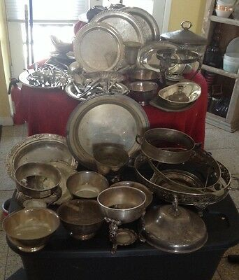 Vintage silverplate Banquet/Catering Mixed Lot Serving Dish Flatware Trays Bowls