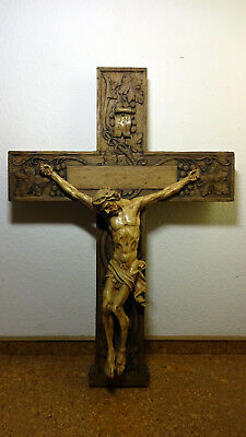 Massive Rare Antique Vintage hand carved wooden crucifix cross Jesus statue