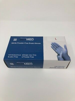 BuyMed Disposable Nitrile Exam Gloves (5mm) Powder/Latex Free Blue Ambidextrous