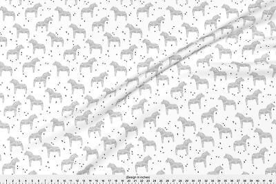 Dala Horse Horse Swedish Black And White Fabric Printed by Spoonflower BTY