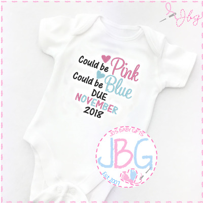 Personalised Baby Vest, Pregnancy announcement 'Could be pink/blue'new baby gift