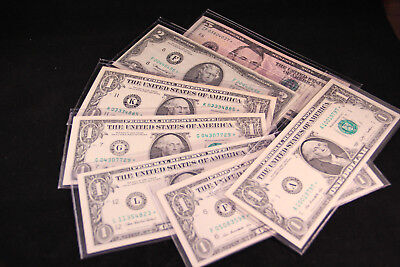 U.S. Currency Star Replacement Notes Lot of 7,  denominations $1, $2, $5