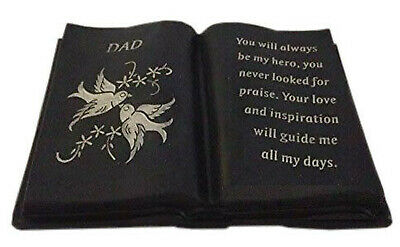 Dad Slate Grey Memorial Book Dove & Diamante Detail Grave Plaque Ornament