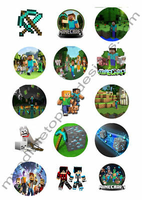 SET OF 12 Minecraft Birthday Cake Cupcake Toppers Perler Beads