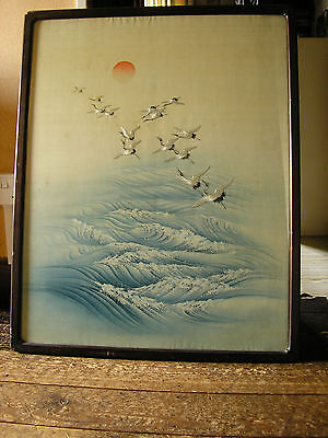 Large Antique Framed Chinese Silk Picture of Cranes Flying Over Waves