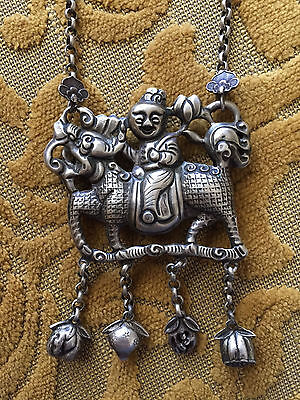 Antique Repoussé Silver Chinese Kylin (Qilin) Rider Necklace
