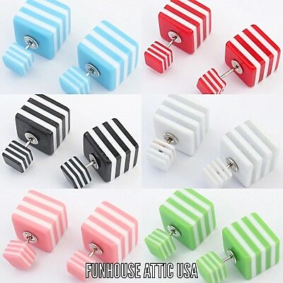 (Lot of 6) NWT Double Sided Stripe Cube Stud Women Earrings Jewelry Accessories