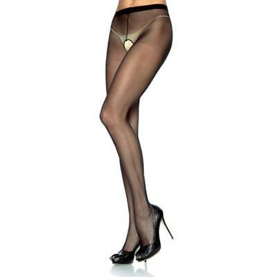Collant Velato Aperto Plus Size Hosiery Sheer Crotchless Black Leg Avenue Taglia