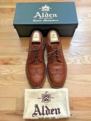 Alden for J.Crew Longwing Bluchers in Tobacco Brown Leather, size 10 D (Medium)