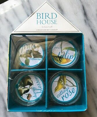 Chesapeake Bay Bird House Votive Candles Set Of 4 New In Gift Box