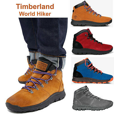 fa8de0d00e1d Timberland Boots World Hiker Mens Hiking Boots Suede Ankle Sneaker Boots NEW
