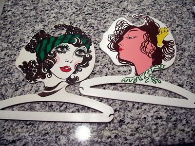 2 Vtg 1980's Potrait Ladies Faces Clothes Display Hangers Made In Italy