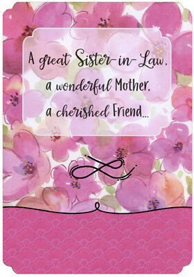 pink watercolor flowers designer greetings sister in law mothers day card