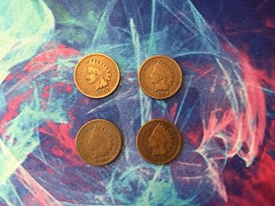 4 Indian Head Pennies ( 1900 to 1908)
