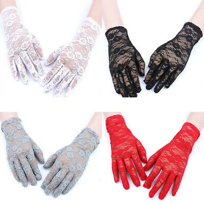 Sexy Lace Floral Gloves Anti-UV Sunscreen Bridal Wedding Party Finger Mittens US